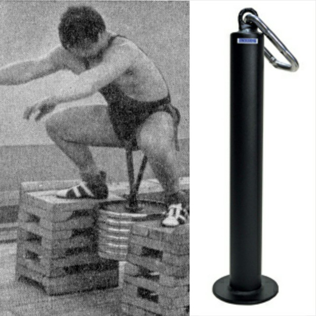 "An easy alternative to the belt squat machine is using the ""Ironmind Plate pin"". It's a solid option for those that want to take a little pressure off the back and still load up the quads- you'll need to buy some strong chains though. *Pic doesnt mimic exact position. Just a cool old school pic ? Some may suggest the ""Super Squat Hip Belt"", personally I was not a fan of the belt. It was very awkard loading  the belt with a barbell or dumbbell. Once I actually started to get in position it forced me to sit far back- opposite of what I wanted to do.  Also another alternative option is to simply hold a dumbbell between your legs as you're elevated on stable boxes."