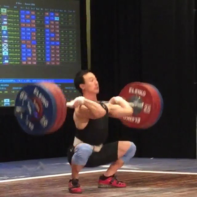 @alee_weightlifting (69k) crushing a 174kg C&J. Tying the current USAW record and setting a new Senior American Record total at 305kg! ????? Very impressive lifting in the 69kg session including CJ Cummings setting a new Youth American Record with 150kg C&J.  Repost vid from @evcf